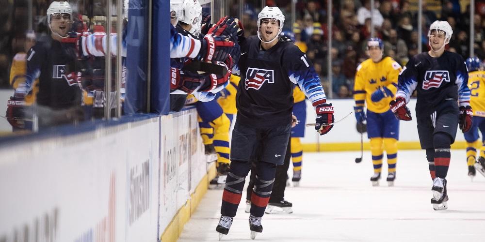 USA firar mål mot Sverige i JVM 2019