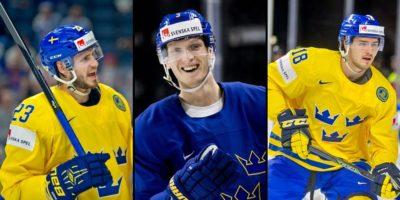 Oliver Ekman Larsson, John Klingberg och Dennis Everberg som alla var med och vann guld med Tre Kronor 2017 och 2018