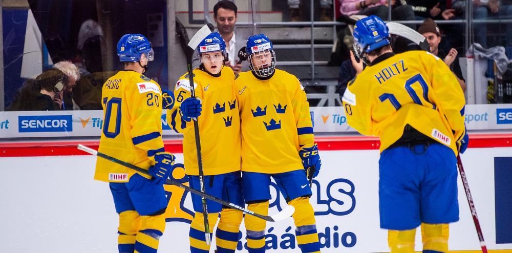 Lucas Raymond, Nikola Pasic, Jonatan Berggren and Alexander Holtz