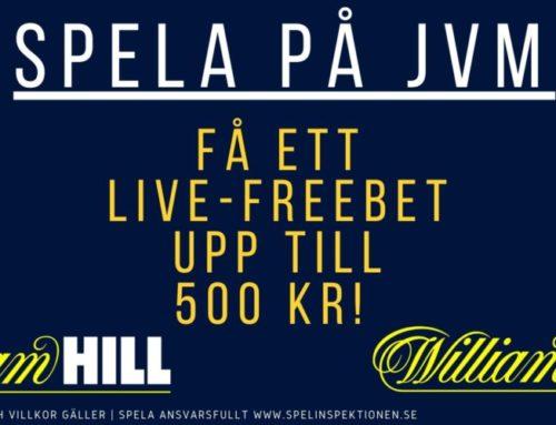 Kampanj JVM: få ett live-freebet upp till 500 kr