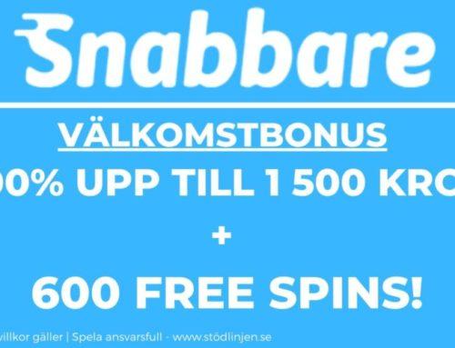 Välkomstbonus Snabbare – 100% upp till 1500 kr + 600 freespins
